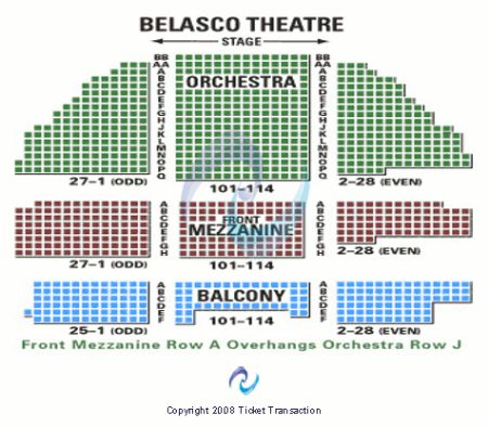 Belasco Theatre Tickets And Belasco Theatre Seating Chart