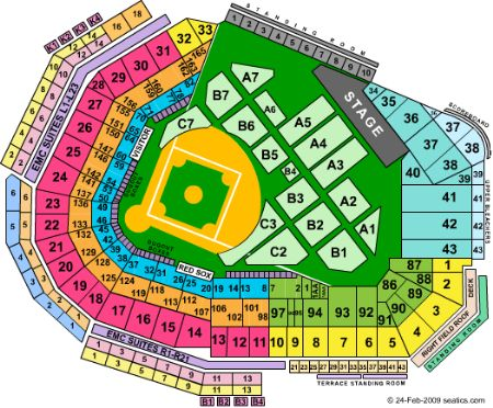 Fenway park seating chart concert elcho table