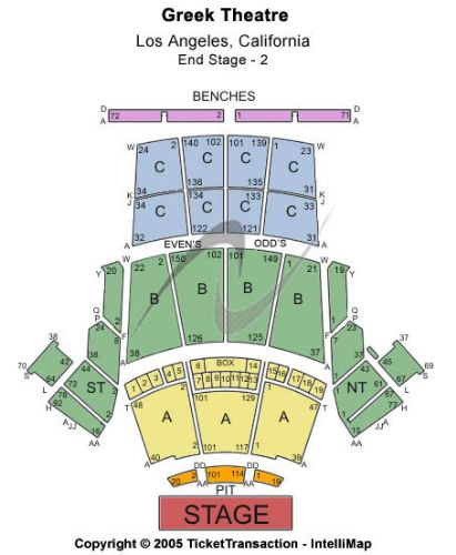 Greek Theatre Ca Tickets And Greek Theatre Ca Seating Chart