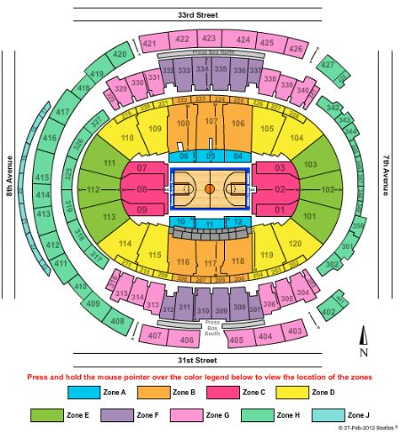 Madison Square Garden Interactive Seating Chart Concert