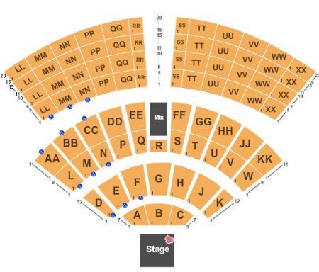 Mystic Lake Amphitheatre Seating Chart Elcho Table
