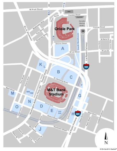 Orioles Parking Map Oriole Park At Camden Yards Parking Lot Tickets and Oriole Park At