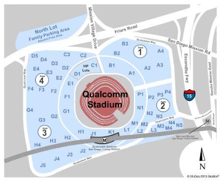 Qualcomm Stadium Parking Map Qualcomm Stadium Parking Lots Tickets and Qualcomm Stadium Parking