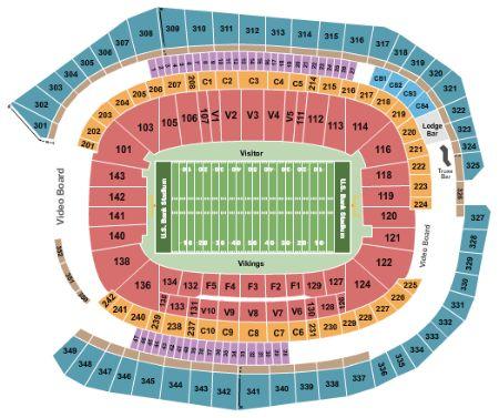 US Bank Stadium Tickets And US Bank Stadium Seating Chart Buy US - Us Bank Stadium Seat Map